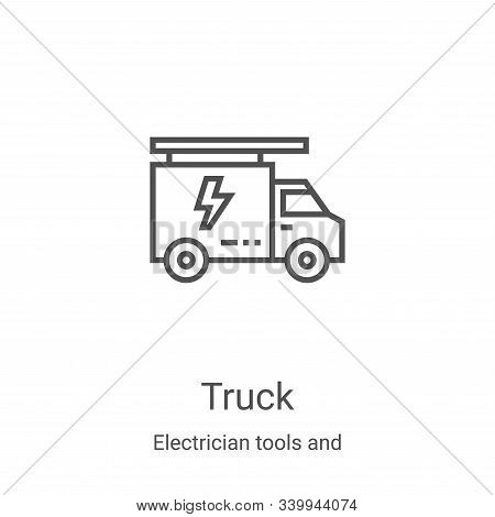 truck icon isolated on white background from electrician tools and elements collection. truck icon t
