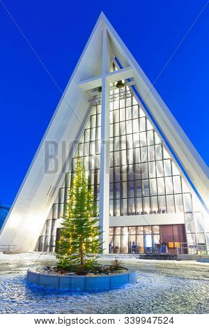 Tromso, Troms / Norway - 12/2019: Arctic cathedral at Christmas Time in Tromso, Northern, Norway