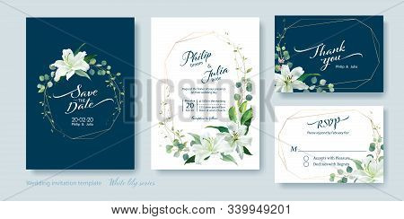 Wedding Invitation Card, Save The Date, Thank You, Rsvp Template. Vector. White Lily Flower, Silver