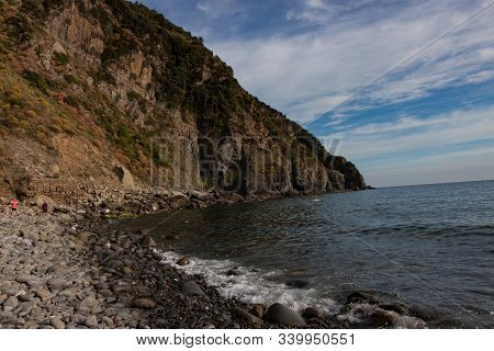 Steep Rocky Coastline Near Riomaggiore In Cinque Terre Italy