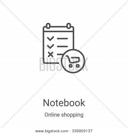 notebook icon isolated on white background from online shopping collection. notebook icon trendy and