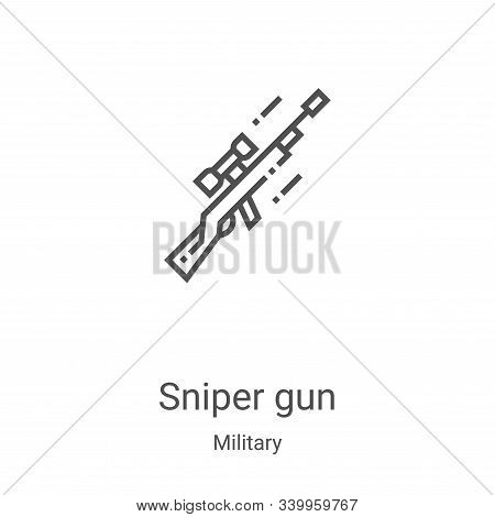 sniper gun icon isolated on white background from military collection. sniper gun icon trendy and mo