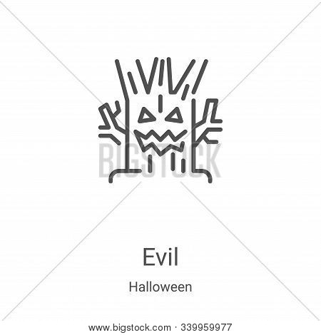 evil icon isolated on white background from halloween collection. evil icon trendy and modern evil s