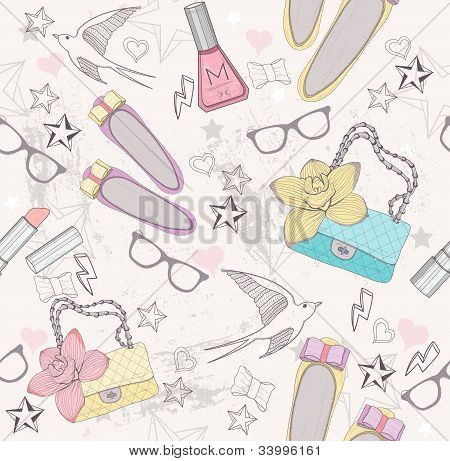 Cute Fashion Seamless Pattern For Girls. Pattern With Shoes, Bags, Cosmetic, Makeup Elements