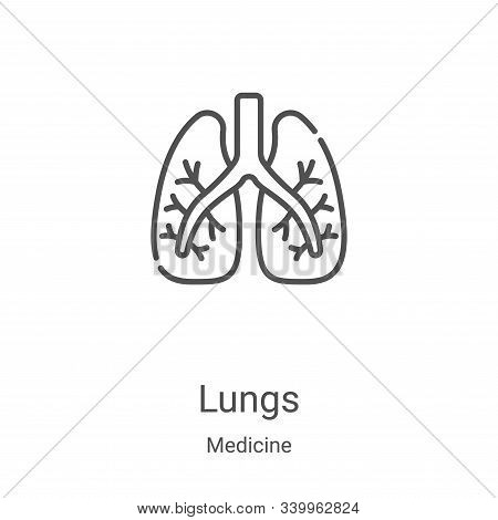 lungs icon isolated on white background from medicine collection. lungs icon trendy and modern lungs