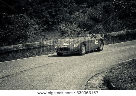 Pesaro Colle San Bartolo , Italy - May 17 - 2018 : O.s.c.a. Tn 1500 1955 On An Old Racing Car In Ral