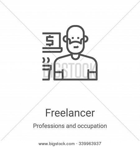 freelancer icon isolated on white background from professions and occupation collection. freelancer