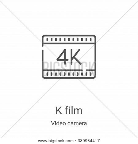 k film icon isolated on white background from video camera collection. k film icon trendy and modern