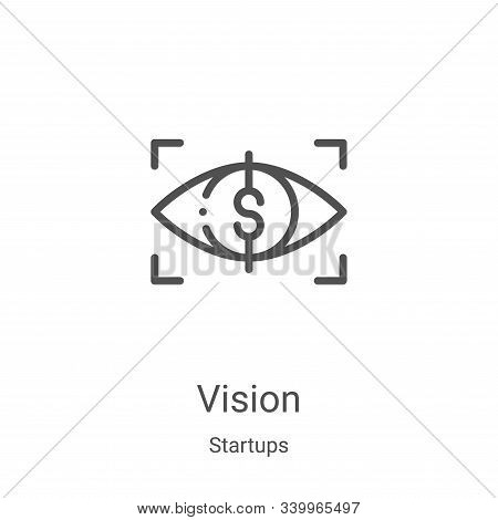 vision icon isolated on white background from startups collection. vision icon trendy and modern vis