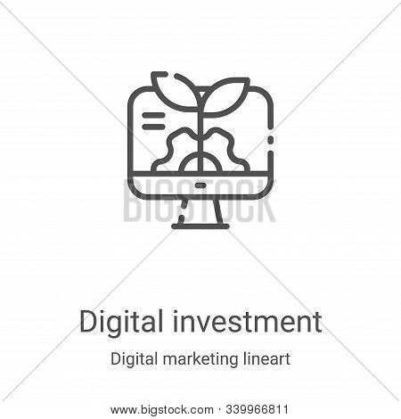digital investment icon isolated on white background from digital marketing lineart collection. digi