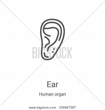 ear icon isolated on white background from human organ collection. ear icon trendy and modern ear sy