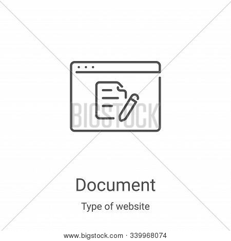 document icon isolated on white background from type of website collection. document icon trendy and