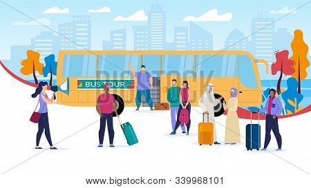 Traveling With Bus Tours Trendy Flat Vector Concept. Multinational Tourists Group With Baggage Bags,