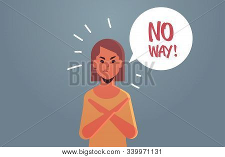 Angry Unhappy Woman Saying No Way Speech Balloon With No Scream Exclamation Negation Concept Furious