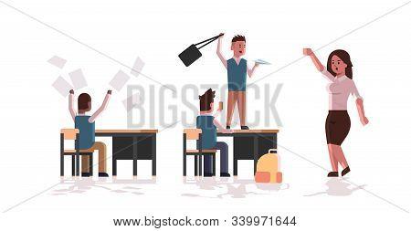 Pupils Demonstrating Bad Behavior Throwing Papers Taking Photos Mocking And Teasing Teacher During L