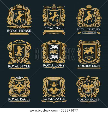 Heraldic Animals, Royal Heraldry Emblems, Pegasus Horse, Griffin Lion And Medieval Eagle Icons. Vect