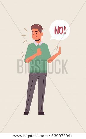 Angry Unhappy Man Saying No Speech Balloon With No Scream Exclamation Negation Concept Furious Guy S