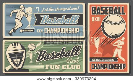 Baseball Victory Cup Championship College Fan Club And Sport League Tournament. Vector Vintage Retro
