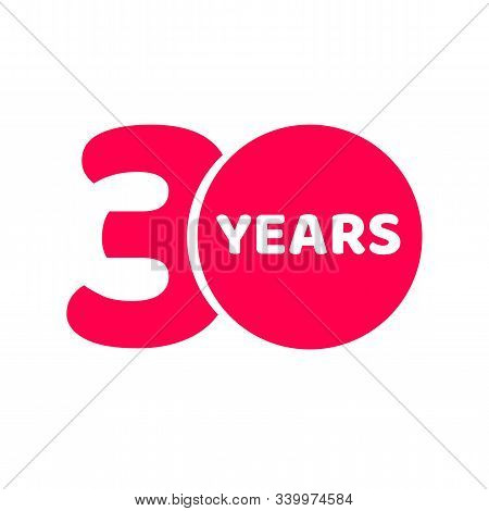 30 Years Anniversary Logo Template Isolated, Red Number 30th With Text Icon Label, Thirty Year Birth
