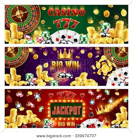 Casino Poker Gamble Game, Wheel Of Fortune Roulette Jackpot Money Big Win. Vector Jackpot Golden Coi