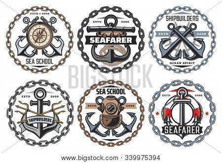Nautical Ship Anchor And Vintage Aqualung Icons, Ocean Spirit And Seafarer Captain Signs. Vector Sea