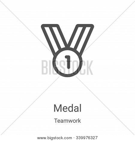 medal icon isolated on white background from teamwork collection. medal icon trendy and modern medal