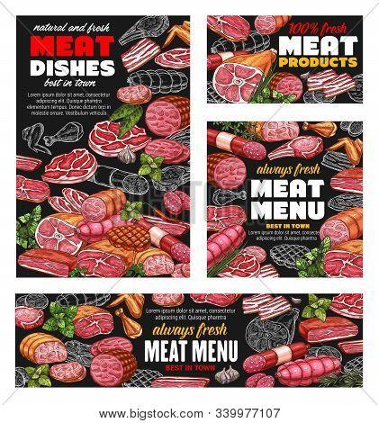 Butcher Shop Meat Food Menu, Sausages And Butchery Gourmet Delicatessen. Vector Farm Butchery Produc