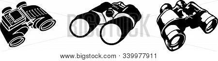 Binoculars Vector Isolated On White Background Spectator, Spy
