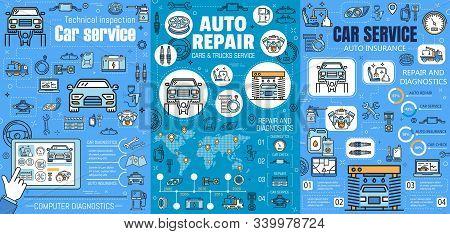 Car Mechanic Maintenance Service, Automobile Repair And Diagnostics Auto Center. Vector Vehicle Insu