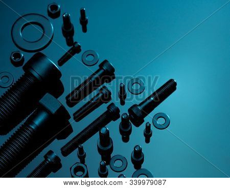 Metal Bolts, Nuts, And Washers. Fasteners Equipment. Hardware Tools. Stud Bolt, Flat Washers, Hex Nu