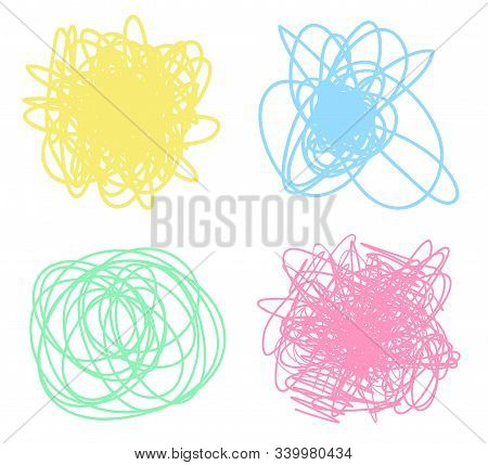 Colorful Tangled Shapes On White. Chaotic Patterns. Bright Backgrounds With Array Of Lines. Line Art