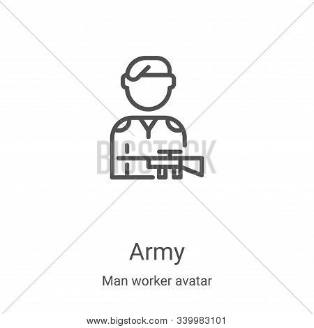 army icon isolated on white background from man worker avatar collection. army icon trendy and moder