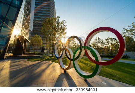 Tokyo, Japan - November 1,2019 : The Five Ring Symbol Of The Olympic Games At Tokyo Museum With Sun