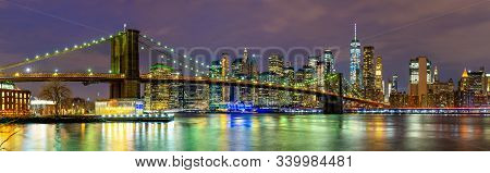 Panorama Of Beautiful Sence Of New York City With Brooklyn Bridge And Lower Manhattan In Dusk Evenin