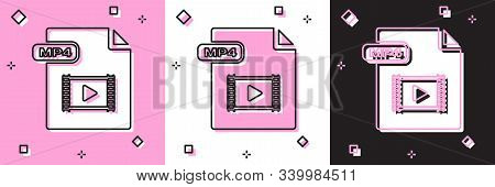 Set Mp4 File Document. Download Mp4 Button Icon Isolated On Pink And White, Black Background. Mp4 Fi