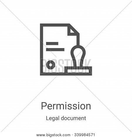 permission icon isolated on white background from legal document collection. permission icon trendy