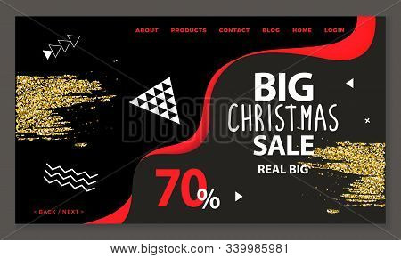 Big Christmas Sale, 70 Percent Discounts And Offerings From Shops And Stores. Holidays Lowering Of P