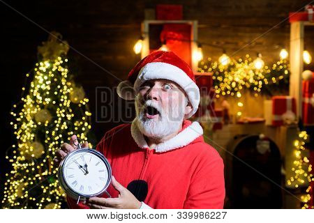 New Year Party. New Year Clock. Merry Christmas And Happy New Year. Christmas Time. Winter Holidays.