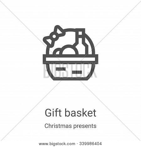 gift basket icon isolated on white background from christmas presents collection. gift basket icon t