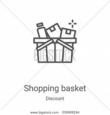 shopping basket icon isolated on white background from discount collection. shopping basket icon tre