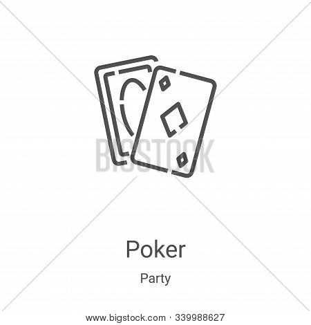 poker icon isolated on white background from party collection. poker icon trendy and modern poker sy