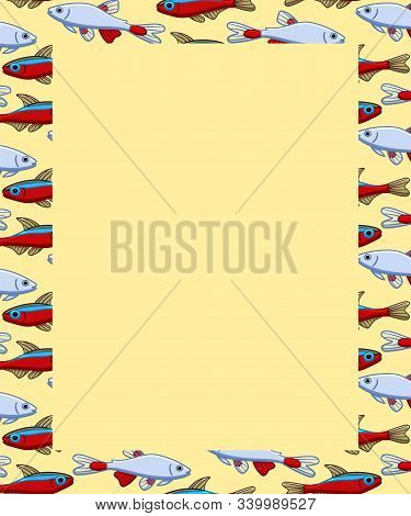 Rectangle Copy Space On Fish Pattern. Yellow Background