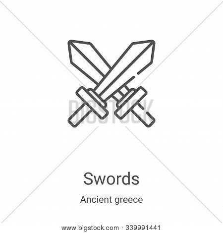 swords icon isolated on white background from ancient greece collection. swords icon trendy and mode
