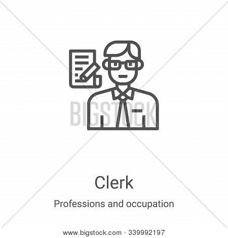 clerk icon isolated on white background from professions and occupation collection. clerk icon trend