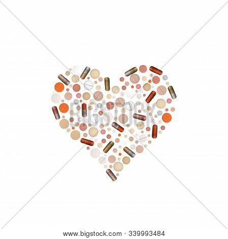 Heart Shape Pills. Vector Illustration. Cardiac Tablet.