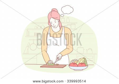 Cooking, Preparing Dinner, Gastronomy Concept. Working And Dreaming, Diet Food, Healthy Nutrition, Y