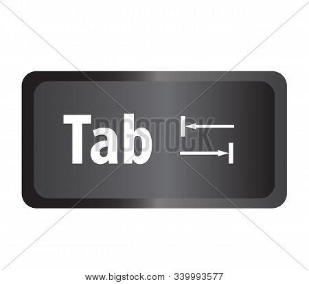 Tab(tab) Computer Key Button On White Background. Flat Style. Tab Button Symbol. Tab Key Sign.