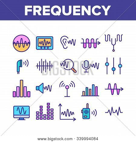 Frequency Pulse Wave Collection Icons Set Vector Thin Line. Microphone And Ear, Radio And Dynamic Wi