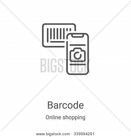 barcode icon isolated on white background from online shopping collection. barcode icon trendy and m