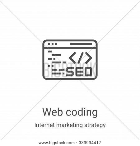 web coding icon isolated on white background from internet marketing strategy collection. web coding